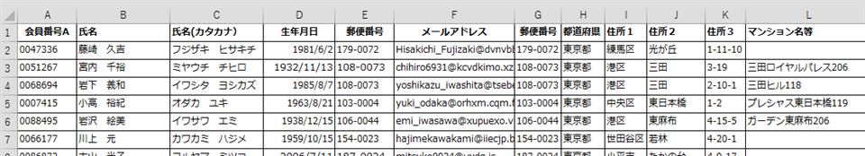 名寄せ対象 リストA:ECショップの顧客情報