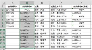エクセルによる名寄せ手順 会員番号Bの追加3/4
